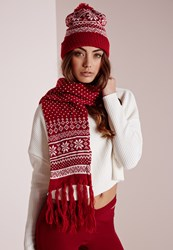 Missguided Fair Isle Hat And Scarf Set Red Red