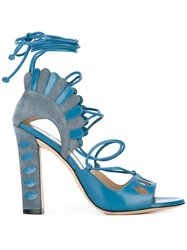 Paula Cademartori Lotus Sandals Blue