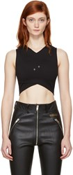 Versus Black Cropped Cross Over Safety Pin Top