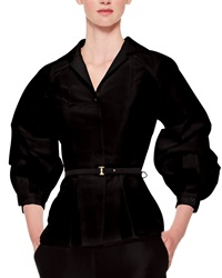 Carolina Herrera Silk Faille Balloon Sleeve Blouse Black Black 6