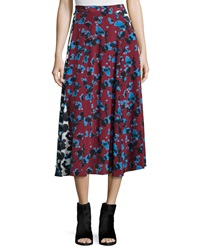 Tanya Taylor Jackson Ink Spot Midi Skirt Red White