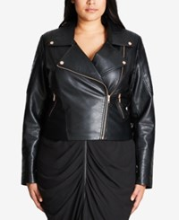 City Chic Trendy Plus Size Faux Leather Moto Jacket Black