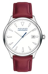 Movado Women's Heritage Calendoplan Leather Strap Watch 36Mm Red White Stainless Steel