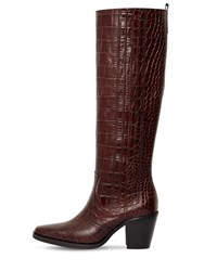 Ganni 70Mm Western Croc Embossed Leather Boots Brown