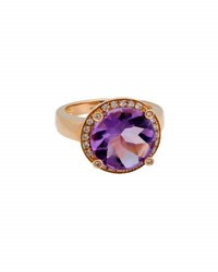 Poiray 18K Rose Gold Round Amethyst And Diamond Ring Purple