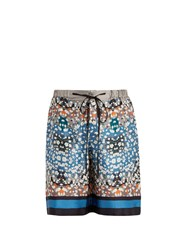 Meng Long Floral Print And Striped Silk Pyjama Shorts Blue