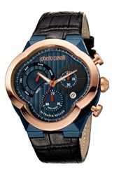 Roberto Cavalli Men's By Franck Muller Clover Chronograph Leather Strap Watch 47Mm Black Navy Rose Gold