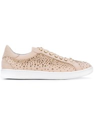 Baldinini Studded Lace Up Sneakers Women Calf Leather Leather Rubber 38 Nude Neutrals