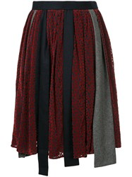 Kolor Patchwork Asymmetric Skirt Polyester Cupro Red