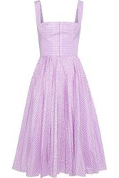 Lela Rose Pleated Gingham Shell Dress Lavender