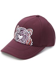 Kenzo Tiger Embroidered Cap Pink And Purple