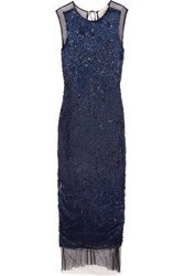 Emilio Pucci Sequined Tulle Maxi Dress Navy
