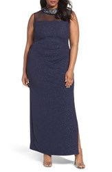 Marina Plus Size Women's Glitter Ottoman Knit Sheath Gown Navy