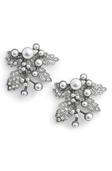 Badgley Mischka Women's Imitation Pearl Crystal Leaf Earrings Silver