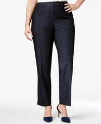 Anne Klein Plus Size Denim Twill Straight Leg Pants Indigo Twill