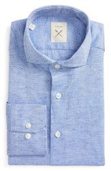 Strong Suit Men's Big And Tall Trim Fit Solid Cotton And Linen Dress Shirt Navy