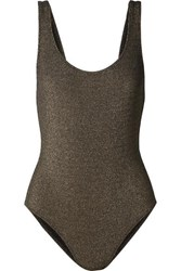 Solid And Striped The Anne Marie Ribbed Stretch Lurex Swimsuit Army Green