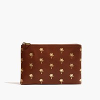 Madewell The Leather Pouch Clutch Palm Tree Edition English Saddle
