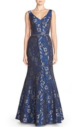 Js Collections Women's Embellished Jacquard Mermaid Gown Navy