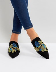 Glamorous Floral Embroidered Pointed Mules Black