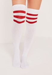 Missguided Over The Knee Sport Sock Red White