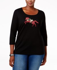 Karen Scott Plus Size Holiday Gallop Graphic Top Only At Macy's Deep Black