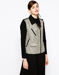 See U Soon Biker Jacket With Metallic Tweed Contrast Blackcream