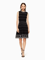 Kate Spade Textured Knit Fit And Flare Dress Black Cream