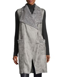 T Tahari Anika Faux Suede Faux Shearling Vest Gray