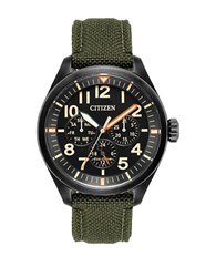 Citizen Chandler Eco Drive Analog Military Cordura Fabric Strap Watch Green