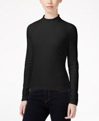 Material Girl Juniors' Solid Rib Knit Mock Turtleneck Top Only At Macy's Caviar Black