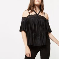River Island Womens Petite Black Pleated Lace Panel Bardot Top