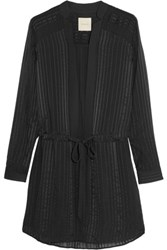 Mason By Michelle Mason Satin Striped Silk Chiffon Mini Dress Black