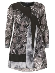 Samya Plus Size Paisley Print Panel Top Grey