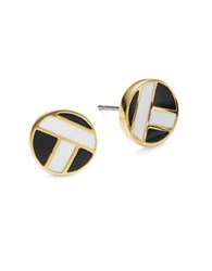 Trina Turk Crisscross Enamel Stud Earrings Gold