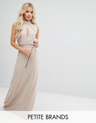 Tfnc Petite Wedding High Neck Maxi Dress With Bow Back Mink Pink
