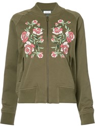 Anine Bing Embroidered Bomber Jacket Women Cotton Viscose S Green