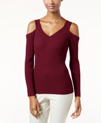 Inc International Concepts V Neck Cold Shoulder Sweater Only At Macy's Port