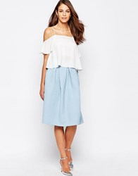 Closet Midi Skater Skirt In Textured Waffle Pale Blue