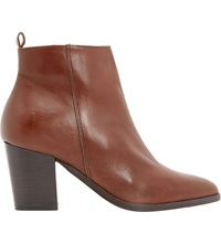 Dune Piper Leather Pointed Toe Heeled Ankle Boots Tan Leather