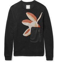 Wooyoungmi Slim Fit Panelled Printed Loopback Cotton Jersey Sweatshirt Navy