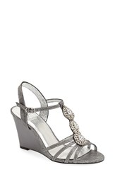 Women's Adrianna Papell 'Kristen' Embellished T Strap Wedge Sandal Pewter Wave Metalic