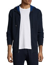Michael Kors Waffle Knit Hooded Zip Sweater Navy