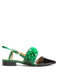 Toga Point Toe Embellished Leather Flats Black Green