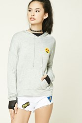 Forever 21 Heart Eyes Patch Hoodie Heather Grey Yellow