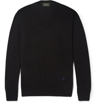 Berluti Fine Knit Wool V Neck Sweater Black