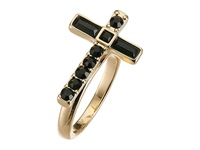 Guess Sideways Cross Ring Gold Jet Ring Black