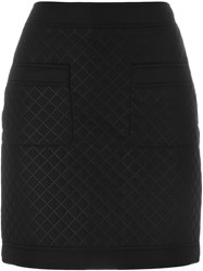 Love Moschino Quilted Fitted Skirt Black