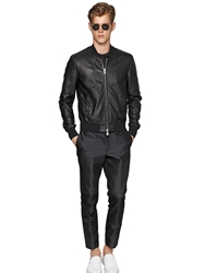 Emporio Armani Scale Effect Nappa Leather Bomber Jacket Black