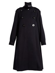 Dolce And Gabbana Oversized Love Embellished Cotton Pique Coat Navy